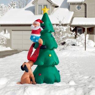 Santa Claus Climbing On Christmas Tree Decoration Inflatable