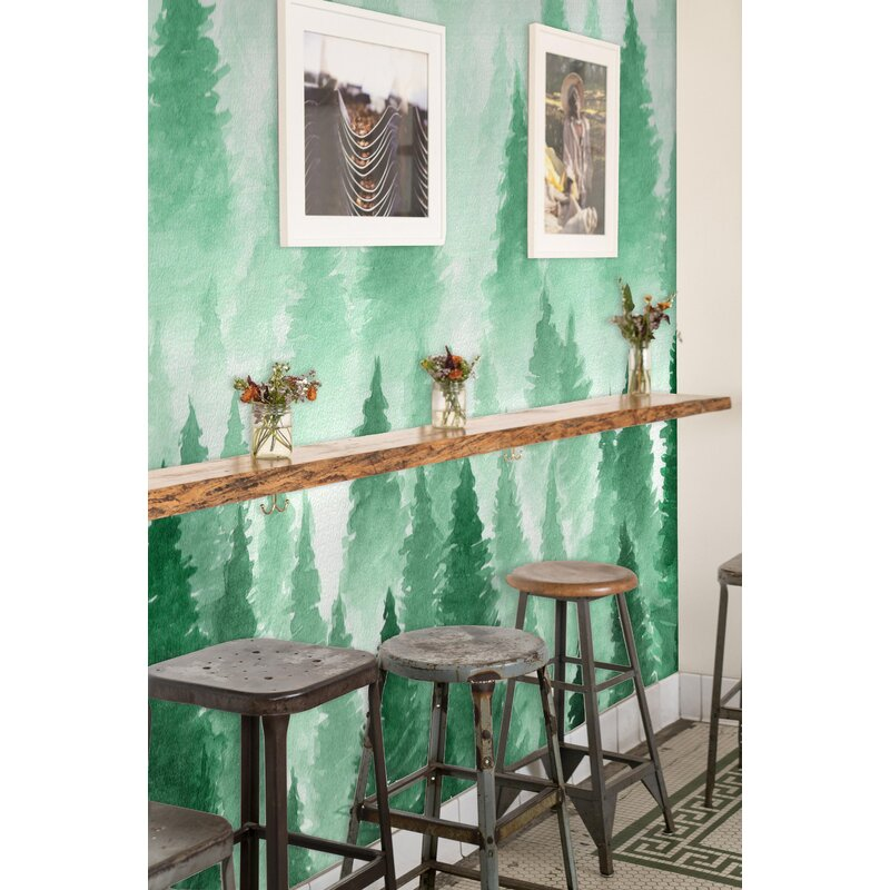 Wrought Studio Argyle Removable Hand Drawn Landscape Foggy Forest 5 25 L X 100 W Peel And Stick Wallpaper Roll Wayfair