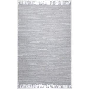 Handgewebter Baumwollteppich in Grau