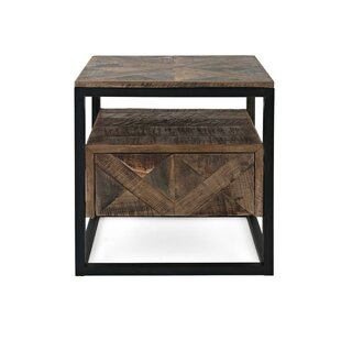 Valya Wooden End Table with Storage by Union Rustic