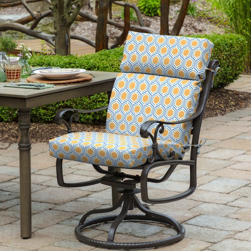 Wrought Studio Honeycomb Outdoor Dining Chair Cushion Reviews Wayfair