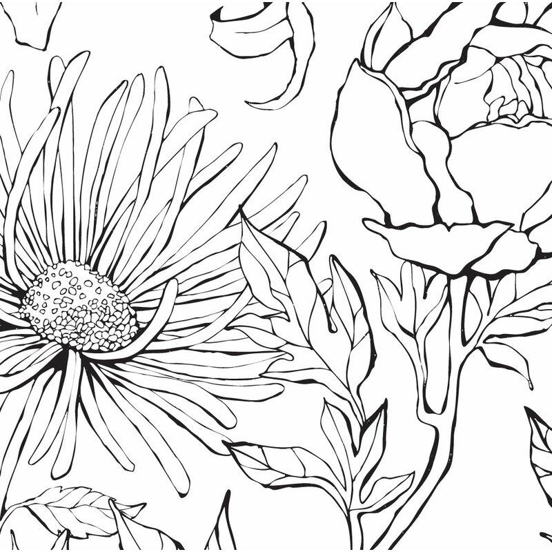 Malbon Botanical Garden Hand Drawn Flowers Art 4 Piece Peel and Stick Wallpaper Panel