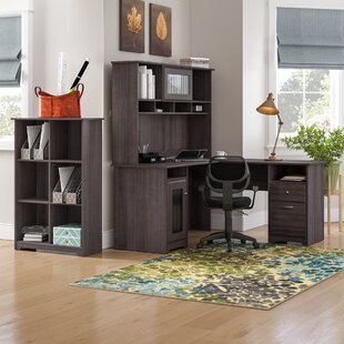 Hillsdale L-Shape Desk with Hutch and 6 Cube Bookcase
