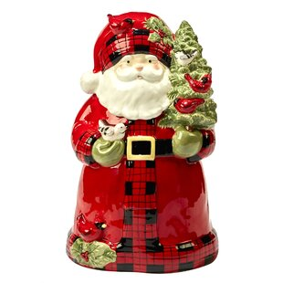 Winter's Plaid 3-D Santa 3.75 qt. Cookie Jar