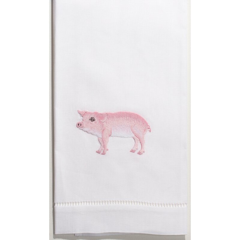 PIGS STACK EMBROIDER BATHROOM HAND TOWEL SET OF 2