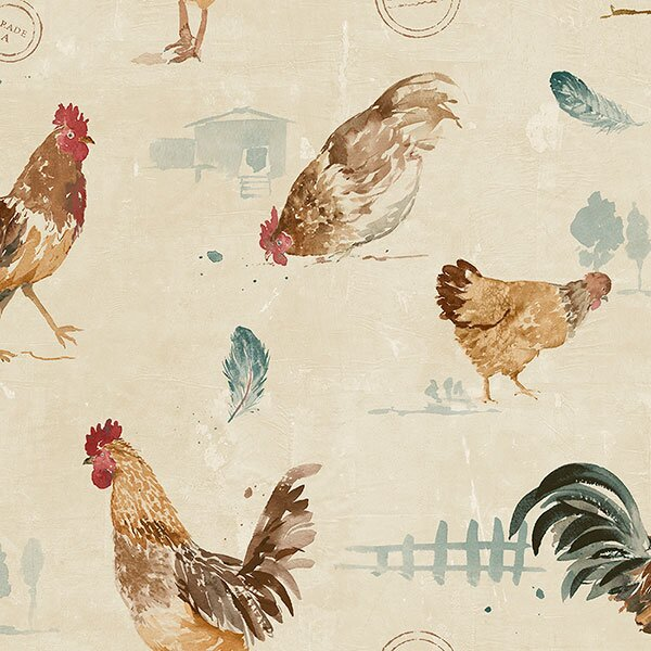 Axl 327 X 205 Hen And Rooster Roll Wallpaper