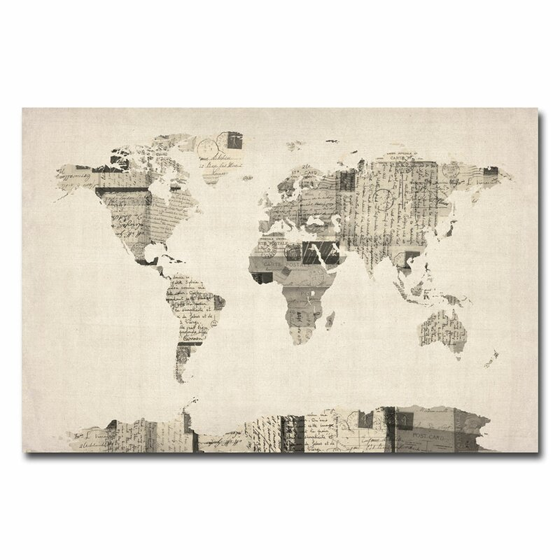 Trademark art vintage postcard world map graphic art on wrapped vintage postcard world map graphic art on wrapped canvas by michael tompsett gumiabroncs Gallery