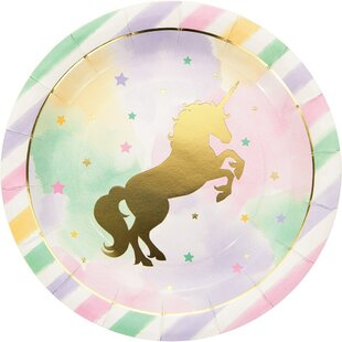 Unicorn Sparkle Paper Disposable Dinner Plate