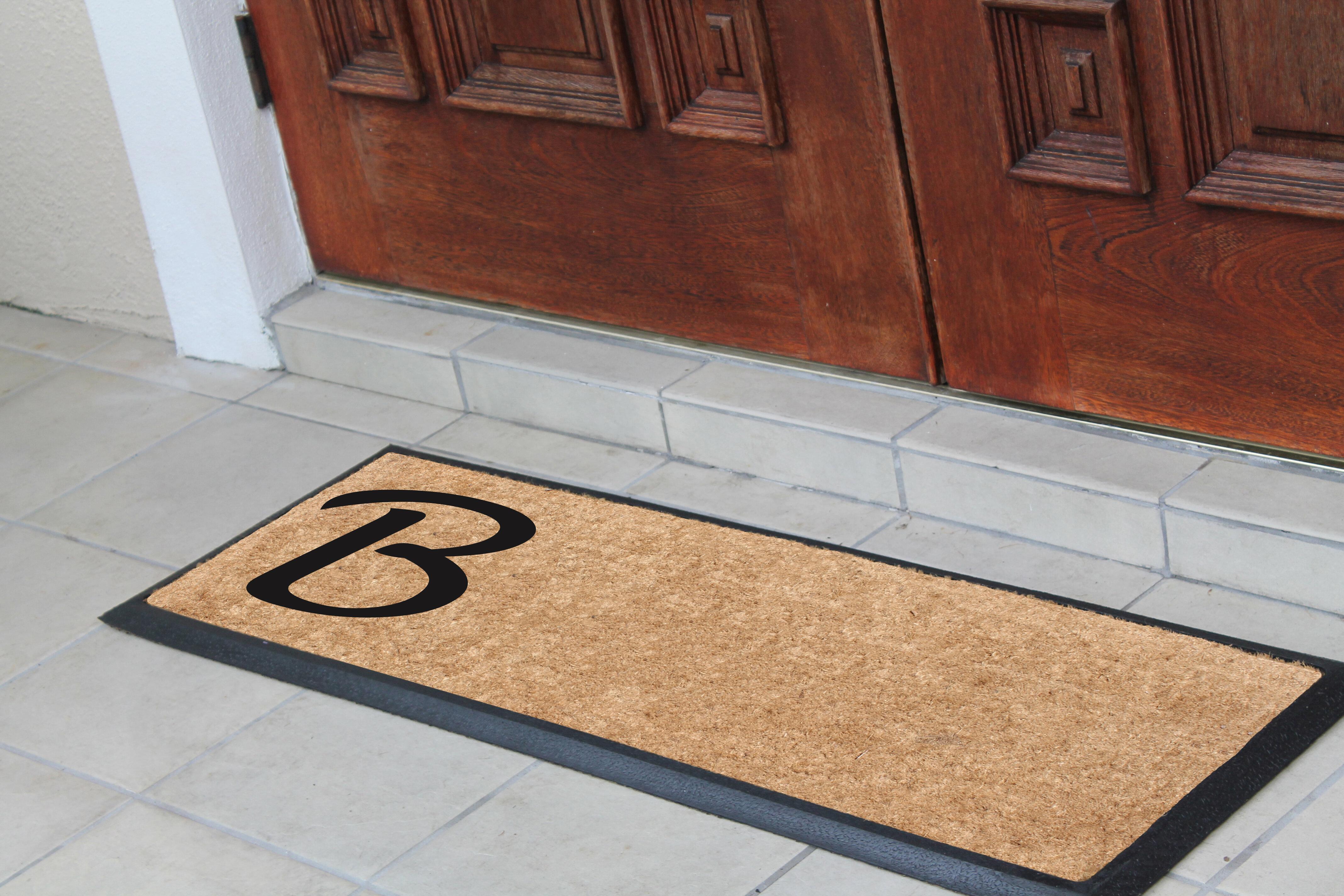 Darby Home Co Albertina Rubber And Coir Monogrammed Double Doormat Wayfair