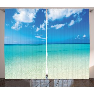 fbee02eac7 Ardon Tropical Paradise Ocean Dreamy Sea Vacation Serene Summer Exotic  Relax Summer Picture Graphic Print   Text Semi-Sheer Rod Pocket Curtain  Panels (Set ...