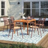 Elsmere 7 Piece Teak Dining Set with Cushions