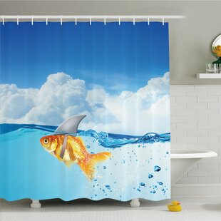 Sea Animal Goldfish with Shark Fin on Top of the Water Fake Comic Nature Image Shower Curtain Set
