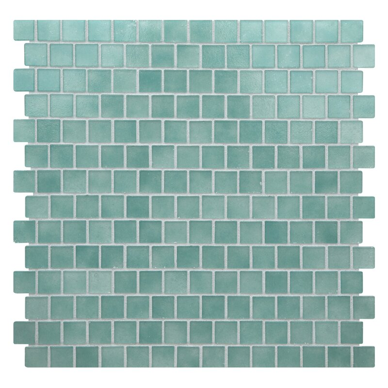 Kellani Quartz 075 X 075 Glass Mosaic Tile In Aquagreen