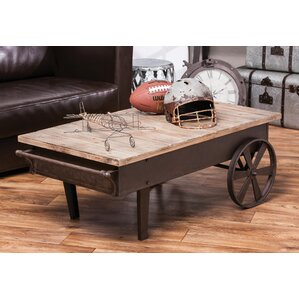 Jignesh Vintage Wood Plank and Metal Coffee Table by Gracie Oaks