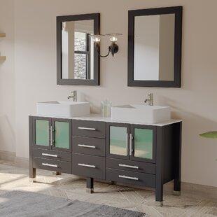 Reviews Aspen 64 Double Bathroom Vanity Set with Mirror ByCambridge Plumbing