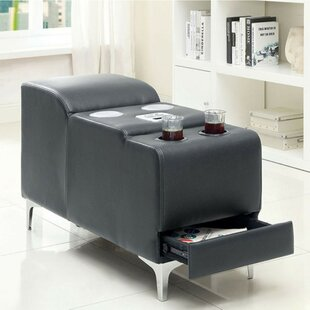 Validum Gray Bonded Bluetooth Speaker Storage Ottoman by Latitude Run