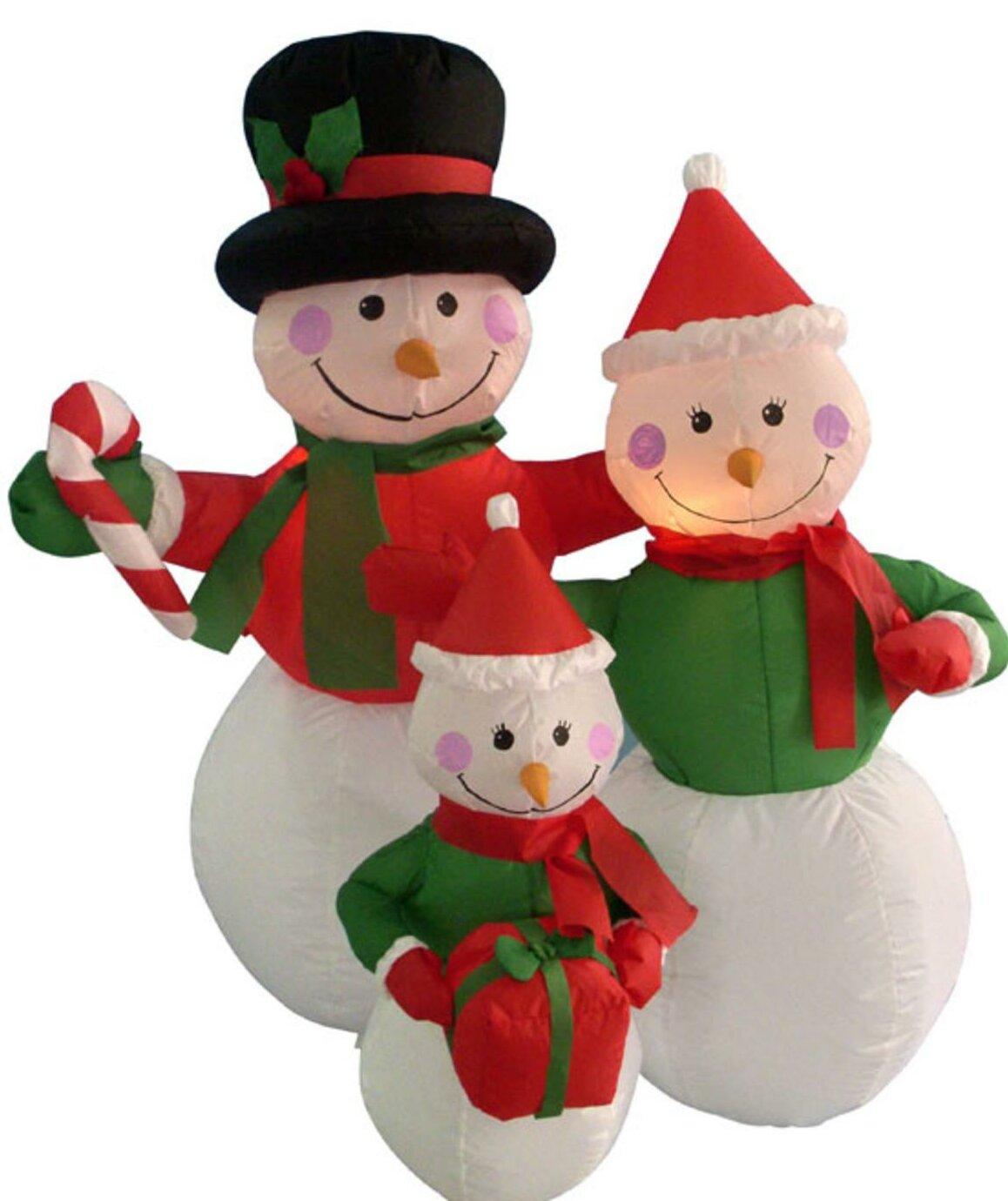 The Holiday Aisle Snowman Family Lighted Christmas Inflatable Wayfair