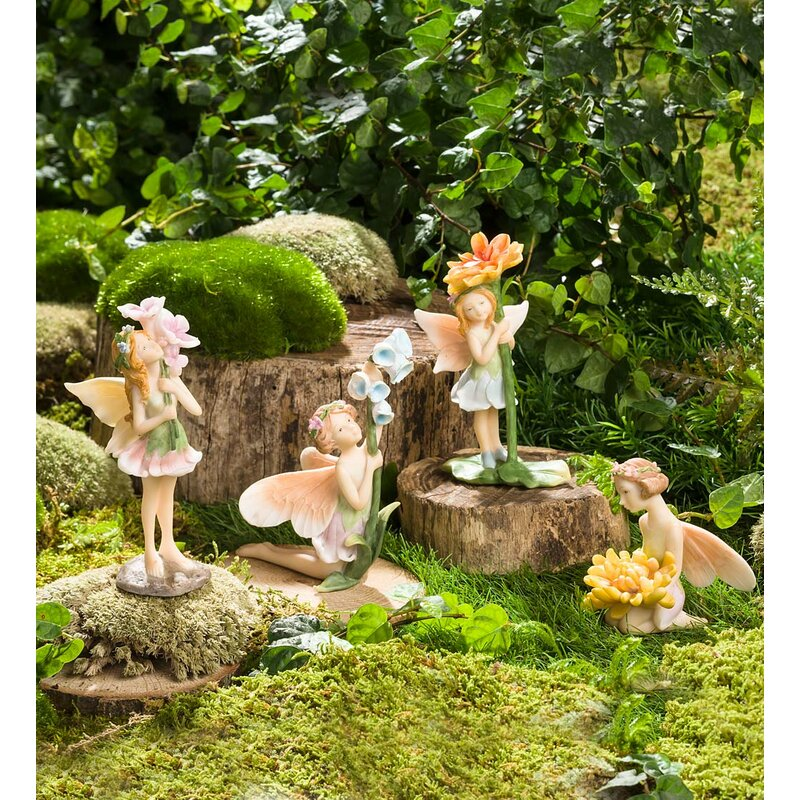 Etonnant Miniature Flower Pixies 4 Piece Fairy Garden Set