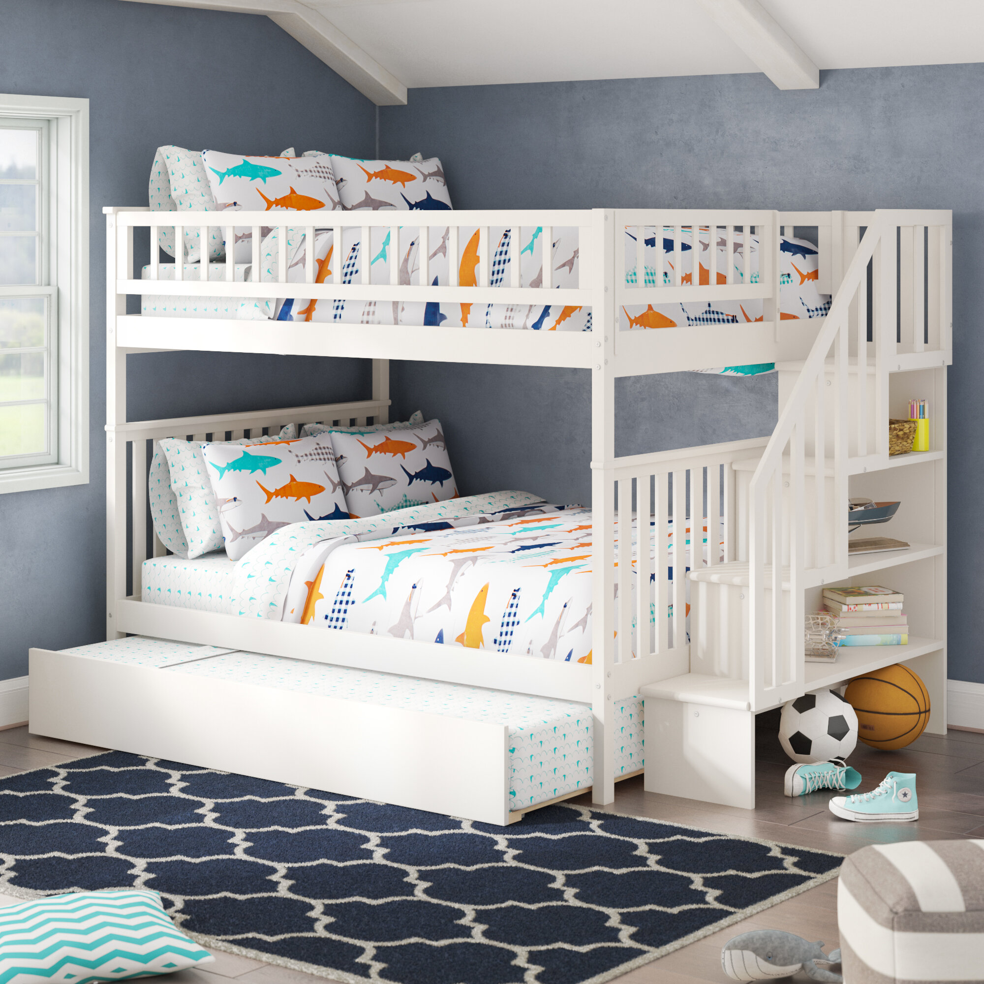 Picture of: Viv Rae Shyann Staircase Full Over Full Bunk Bed With Trundle Reviews