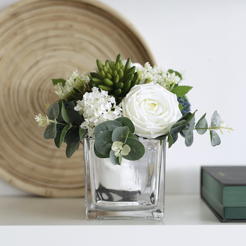 House Of Hampton Mixed Silk Floral Arrangement In Mirrored Vase Wayfair