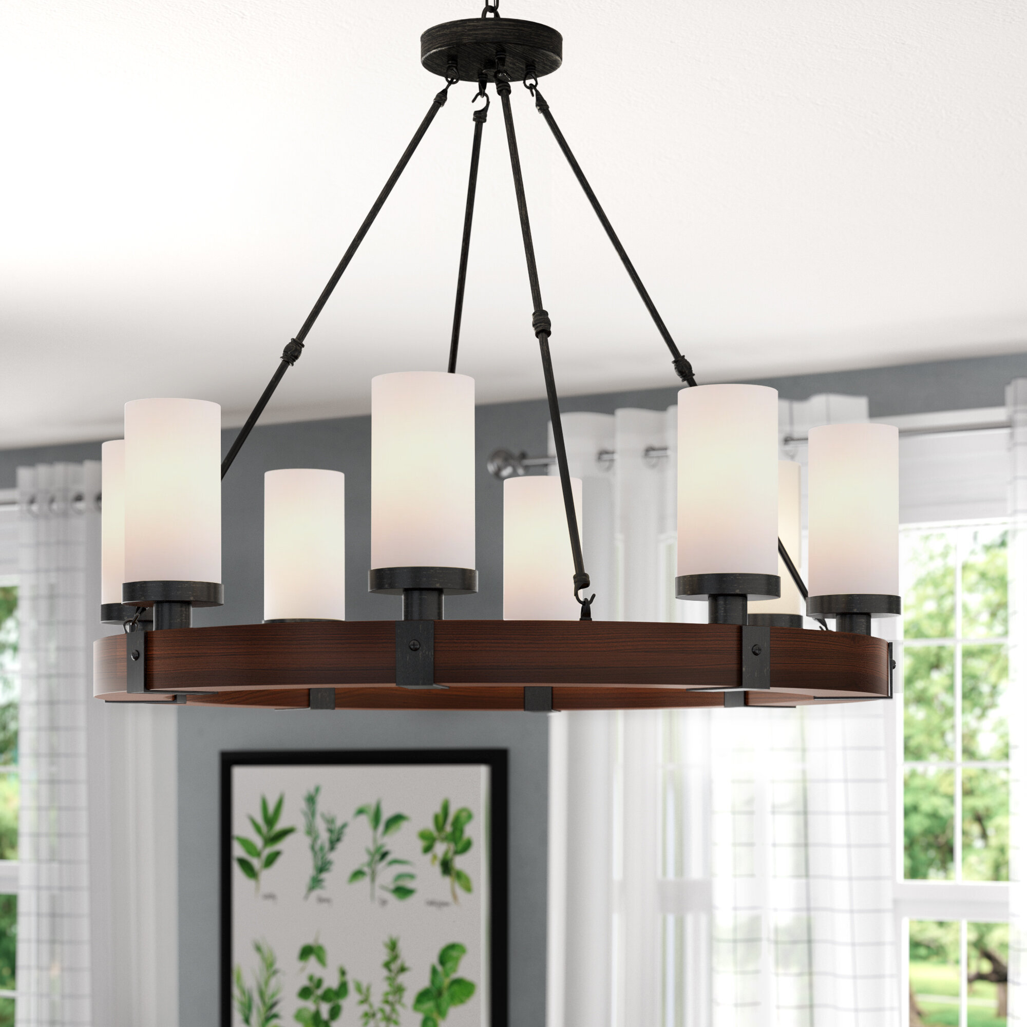 Gracie Oaks Goodale 8 Light Unique Statement Wagon Wheel Chandelier Reviews Wayfair