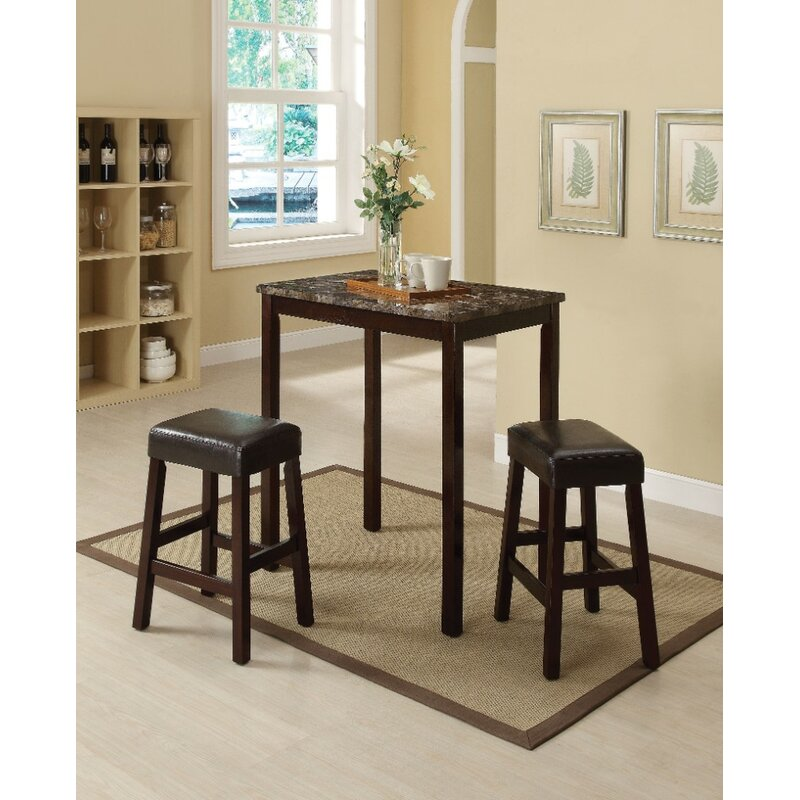 Port Augusta 3 Piece Counter Height Solid Wood Dining Set