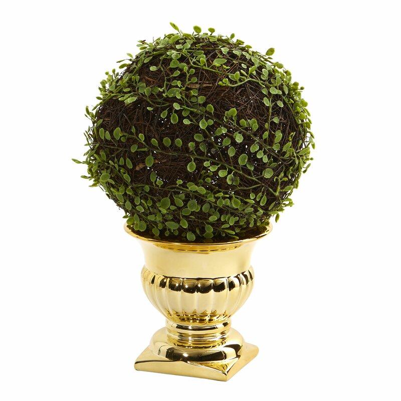 Astoria Grand 9 75 Artificial Moss Topiary In Urn Wayfair
