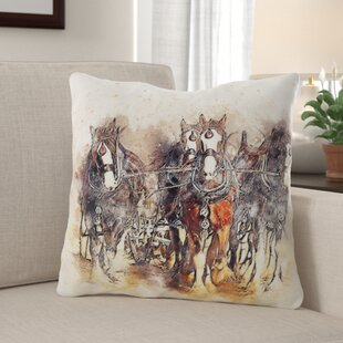 Jasmin Horse Throw Pillow by Millwood Pines
