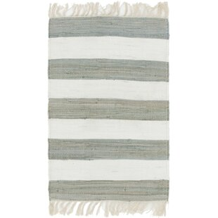 Affordable Rinker Hand-Knotted Cotton Gray/Off White Area Rug ByBreakwater Bay