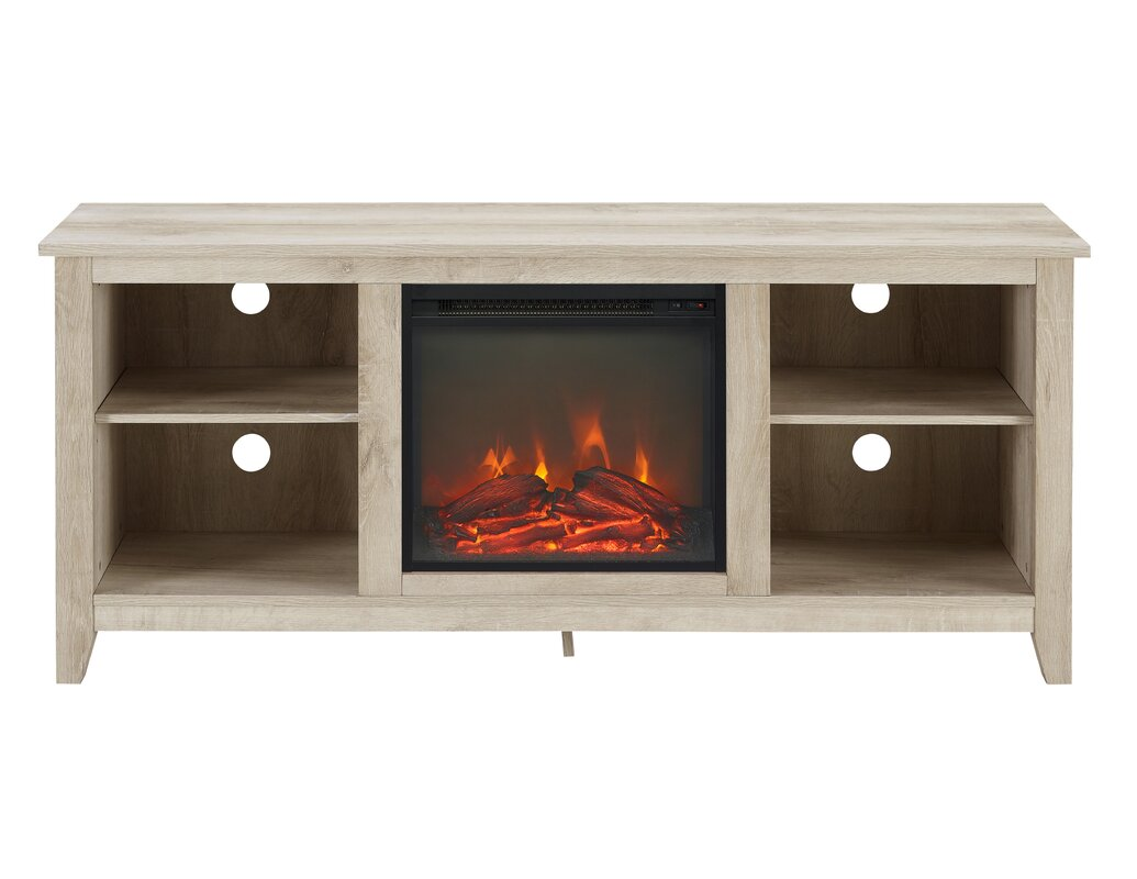 walker edison wood fireplace tv stand for tvs up to 60