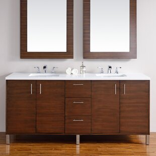 Cordie 72 Double American Walnut Solid Wood Base Bathroom Vanity Set by Orren Ellis