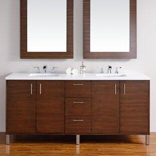 Cordie Modern 72 Double American Walnut Bathroom Vanity Set by Orren Ellis