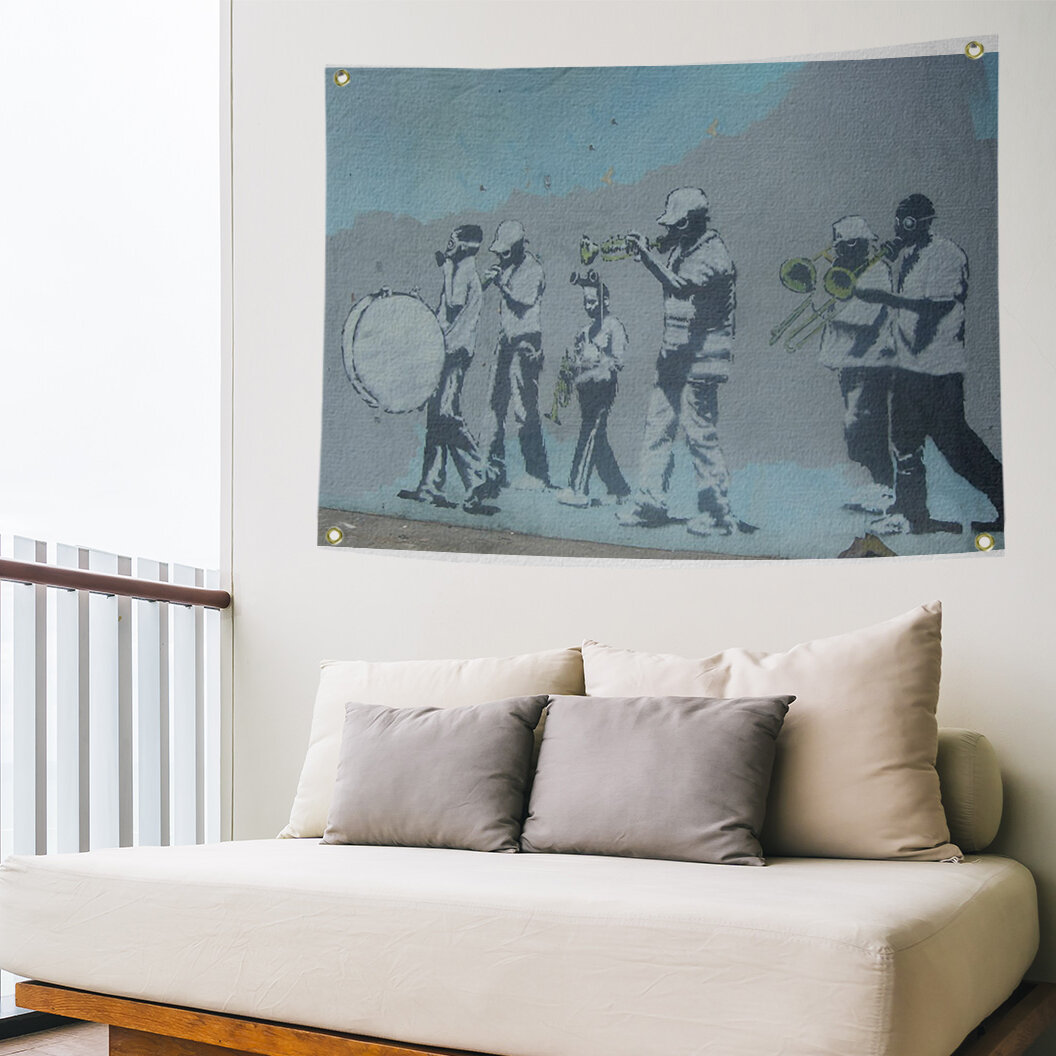 East Urban Home Polyester Musicians Gas Mask Marching Band Tapestry Wayfair