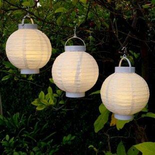 Fabric Outdoor Garden Patio Chinese 1-Light Lantern Head (Set of 3)