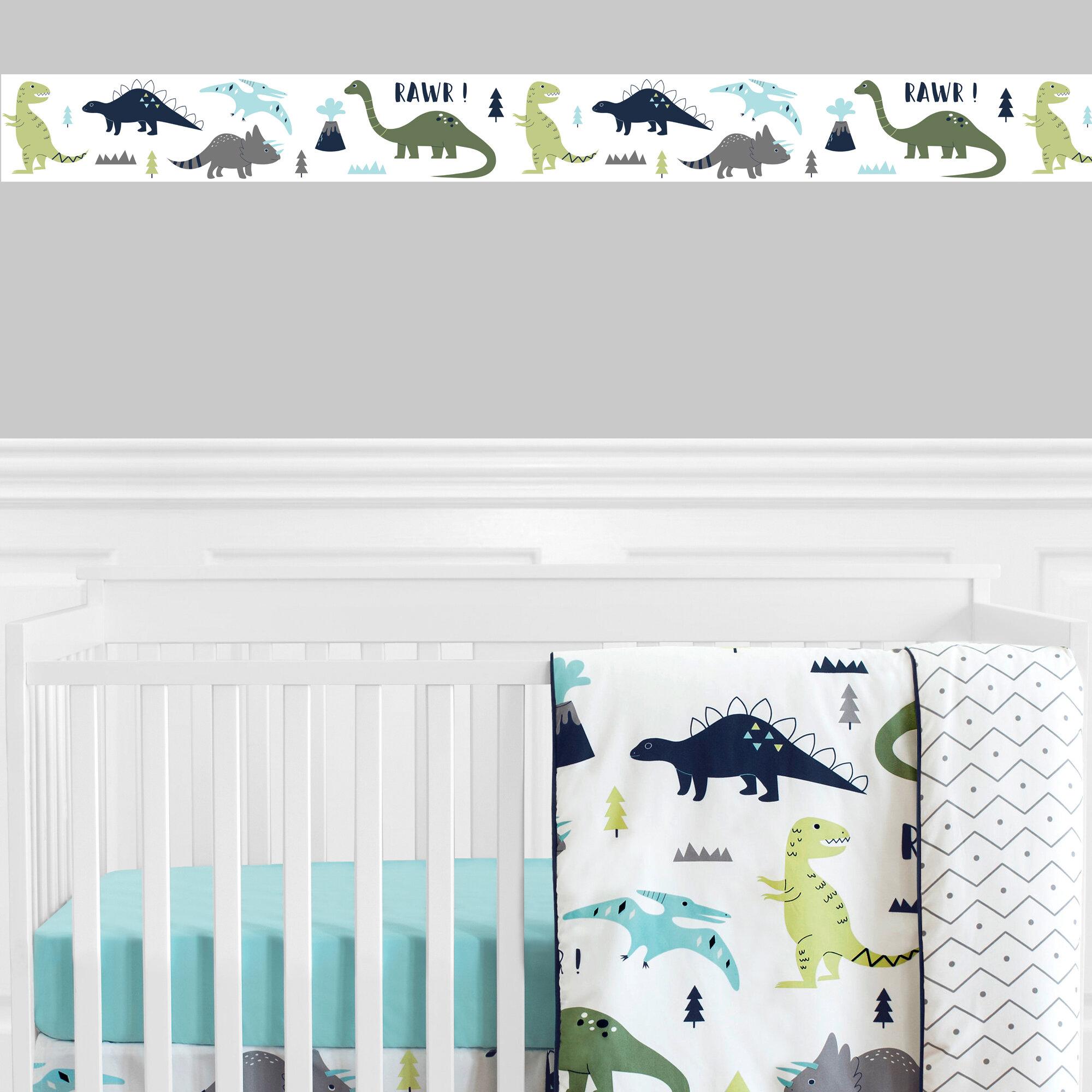 Sweet Jojo Blue And Green Mod Dinosaur Baby Wall Paper Border Room Wallcoverings