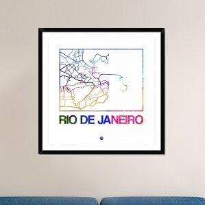 Rio De Janeiro Watercolor Street Map Framed Graphic Art Print
