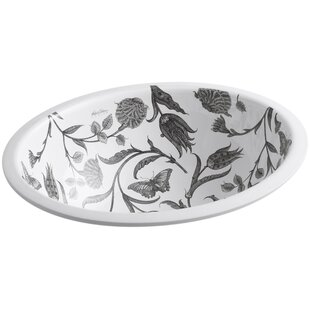 Affordable Price Botanical Study Ceramic Oval Undermount Bathroom Sink By Kohler