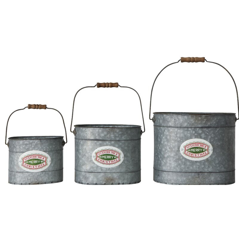 The Holiday Aisle Wishing You A Merry Christmas Stamp 3 Piece Metal Bucket Set Wayfair