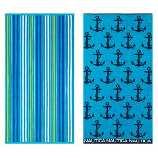 Anchor Stripe Lullwater 2 Piece 100% Cotton Beach Towel Set