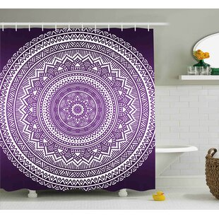 Lynn Purple Ombre Mandala Art Print Bright Floral Pattern Boho Hippie Inspired Decorations Single Shower Curtain