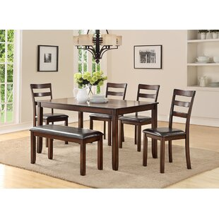 Stahr Rubberwood 6 Piece Solid Wood Dining Set