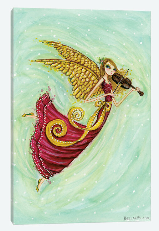 East Urban Home Holiday Series Angel With Violin Painting Print On Wrapped Canvas Wayfair