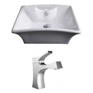 Compare Ceramic Rectangular Vessel Bathroom Sink with Faucet and Overflow By American Imaginations
