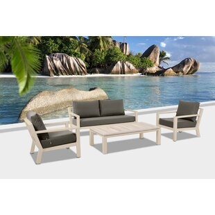 Darrius 4 Piece Teak Sofa Set with Cushions
