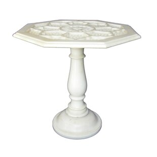 Traditional Indian Net Design Marble End Table by The Silver Teak