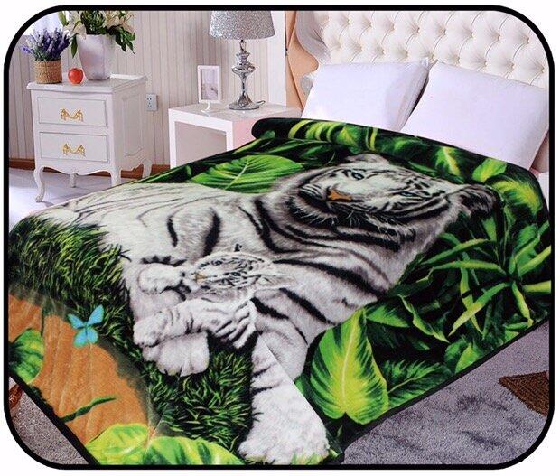 JCP Hometex Inc. Hiyoko Safari White Tiger Animal Mink Blanket | Wayfair