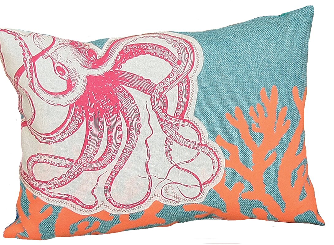 Coastal Applique Octopus With Print Coral Decorative Lumbar Pillow Design