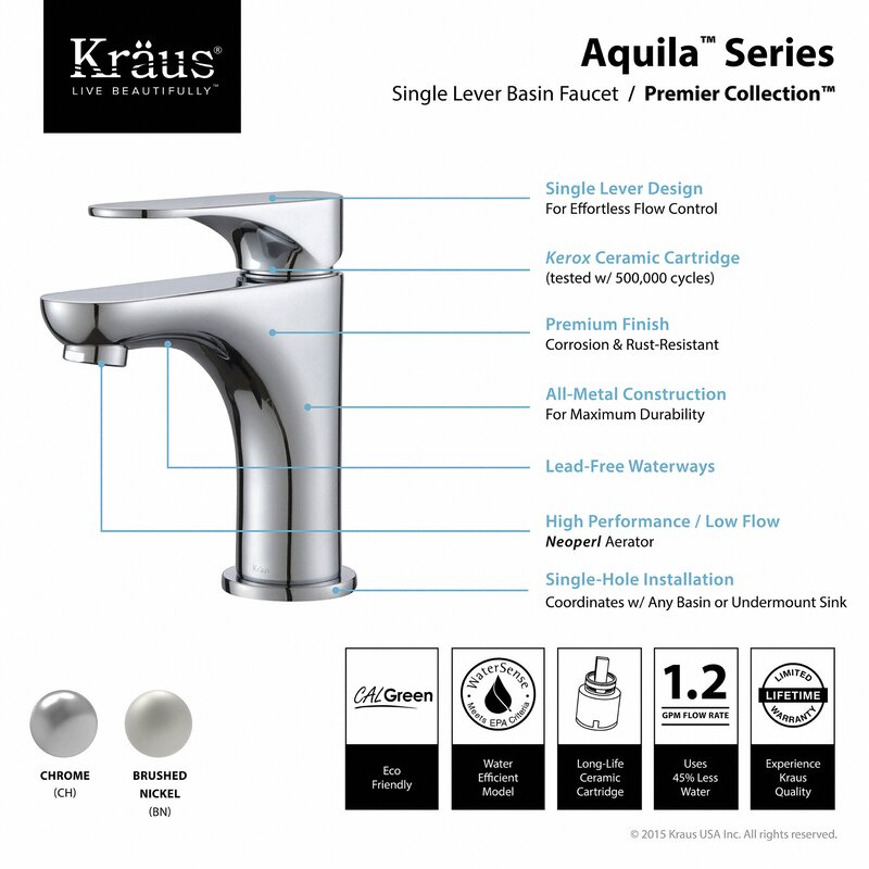 Kraus Aquila Single Hole Bathroom Faucet & Reviews | Wayfair