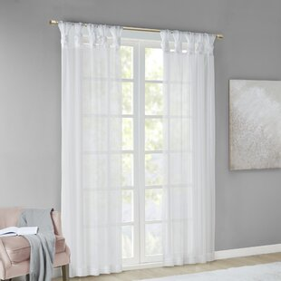 Kater Twisted Voile Solid Color Sheer Tab Top Curtain Panels (Set of 2) by Ophelia & Co.