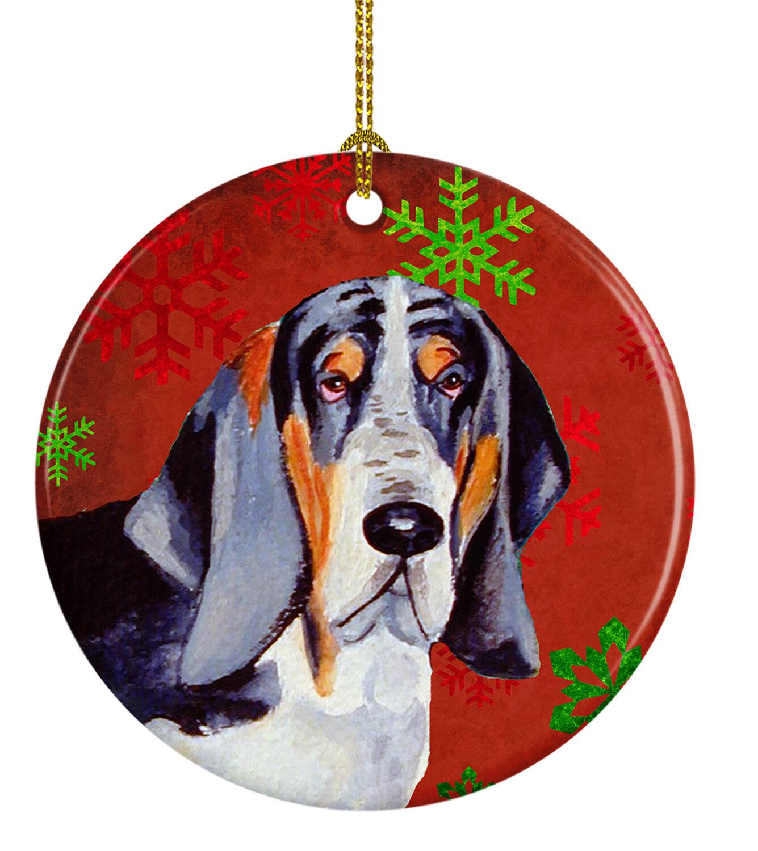 The Holiday Aisle Basset Hound Snowflake Holiday Christmas Ceramic Hanging Figurine Ornament Wayfair